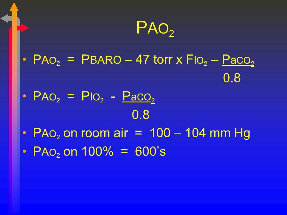 PAO2PAO2 P A O 2 = P BARO – 47 torr x F I O 2 – P a CO 2 0.8 P A O 2 = P I O 2 - P a CO 2 0.8 P A O 2 on room air = 100 – 104 mm Hg P A O 2 on 100% =
