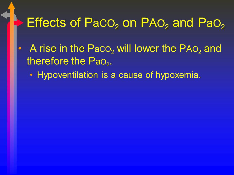 Effects of P a CO 2 on P A O 2 and P a O 2 A rise in the P a CO 2 will lower the P A O 2 and therefore the P a O 2. Hypoventilation is a cause of hypo