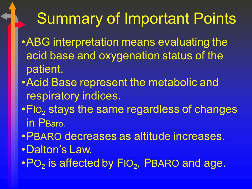 Summary of Important Points ABG interpretation means evaluating the acid base and oxygenation status of the patient. Acid Base represent the metabolic