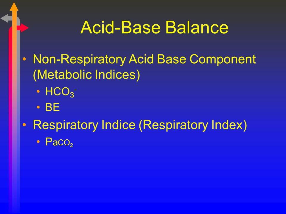 Acid-Base Balance Non-Respiratory Acid Base Component (Metabolic Indices) HCO 3 - BE Respiratory Indice (Respiratory Index) P a CO 2