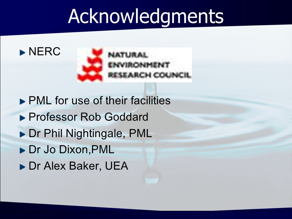 Acknowledgments NERC PML for use of their facilities Professor Rob Goddard Dr Phil Nightingale, PML Dr Jo Dixon,PML Dr Alex Baker, UEA
