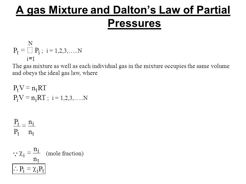 A gas Mixture and Daltons Law of Partial Pressures PP ti i N 1 ; i = 1,2,3,…..N The gas mixture as well as each individual gas in the mixtureoccupies the same volume andobeys the idealgas law, where PVnRT tt PVnRT ii ; i = 1,2,3,…..N P P n n i t i t i i t n n (mole fraction) PP iit
