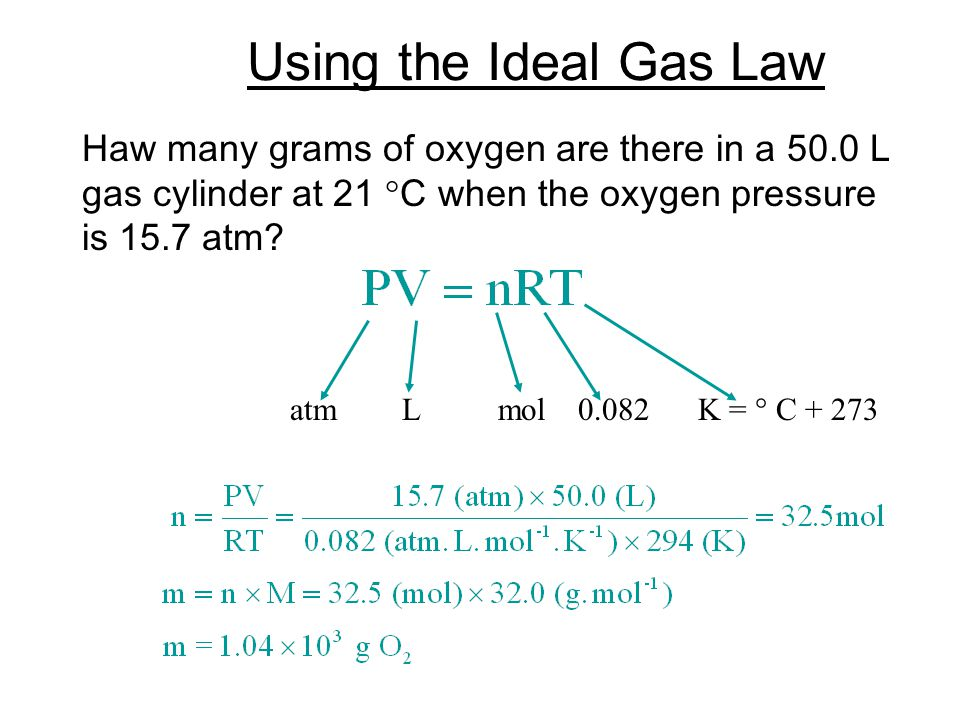 Using the Ideal Gas Law Haw many grams of oxygen are there in a 50.0 L gas cylinder at 21 C when the oxygen pressure is 15.7 atm.