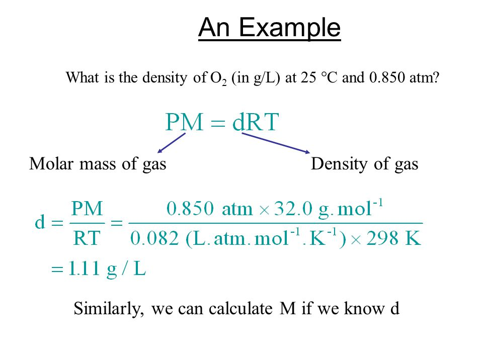 An Example What is the density of O 2 (in g/L) at 25 C and 0.850 atm.