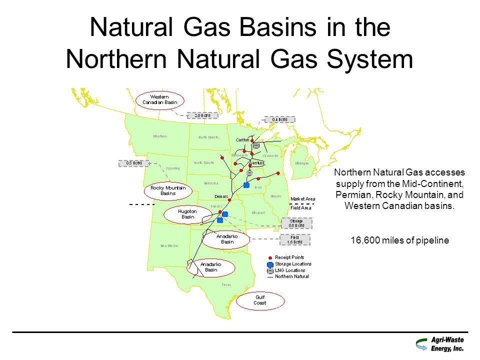 Natural Gas Basins in the Northern Natural Gas System Northern Natural Gas accesses supply from the Mid-Continent, Permian, Rocky Mountain, and Western Canadian basins.
