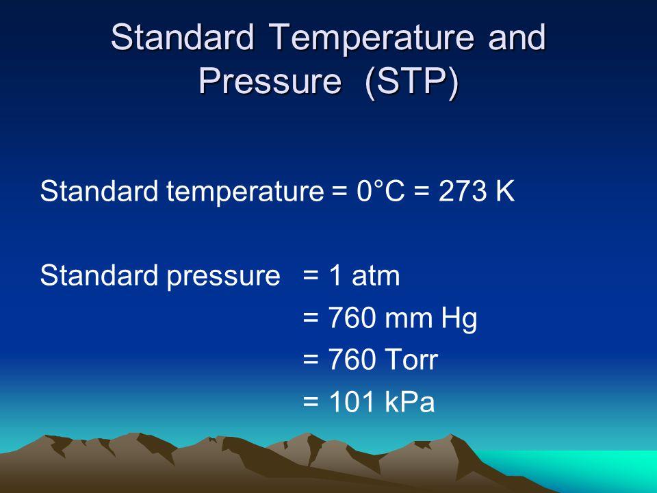 Standard Temperature and Pressure (STP) Standard temperature = 0°C = 273 K Standard pressure = 1 atm = 760 mm Hg = 760 Torr = 101 kPa