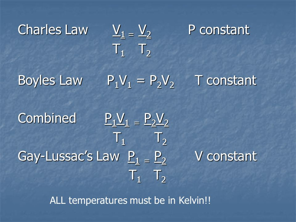 Charles Law V 1 = V 2 P constant T 1 T 2 T 1 T 2 Boyles Law P 1 V 1 = P 2 V 2 T constant Combined P 1 V 1 = P 2 V 2 T 1 T 2 T 1 T 2 Gay-Lussacs Law P 1 = P 2 V constant T 1 T 2 T 1 T 2 ALL temperatures must be in Kelvin!!