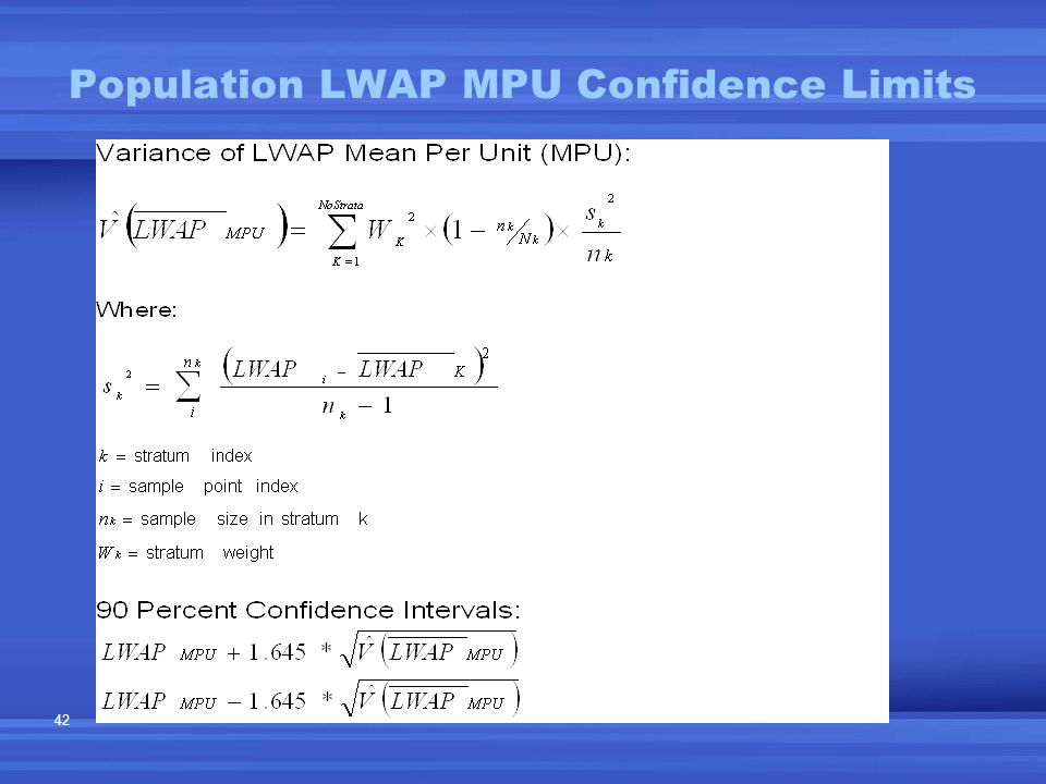 42 Population LWAP MPU Confidence Limits