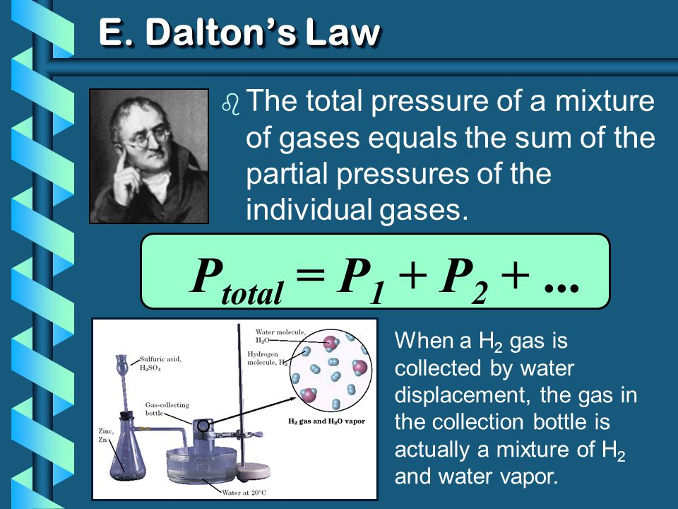E. Daltons Law b The total pressure of a mixture of gases equals the sum of the partial pressures of the individual gases. P total = P 1 + P 2 +... Wh