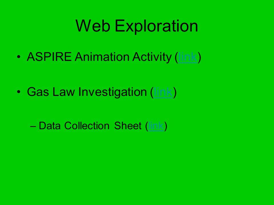 Web Exploration ASPIRE Animation Activity (link)link Gas Law Investigation (link)link –Data Collection Sheet (link)link