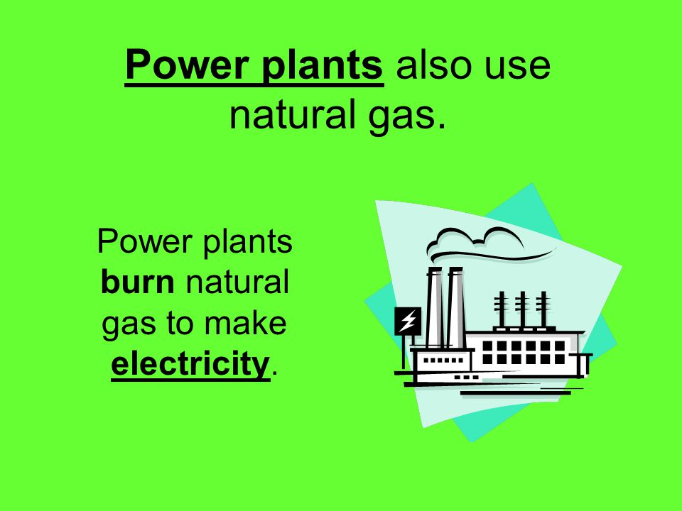 Power plants also use natural gas. Power plants burn natural gas to make electricity.