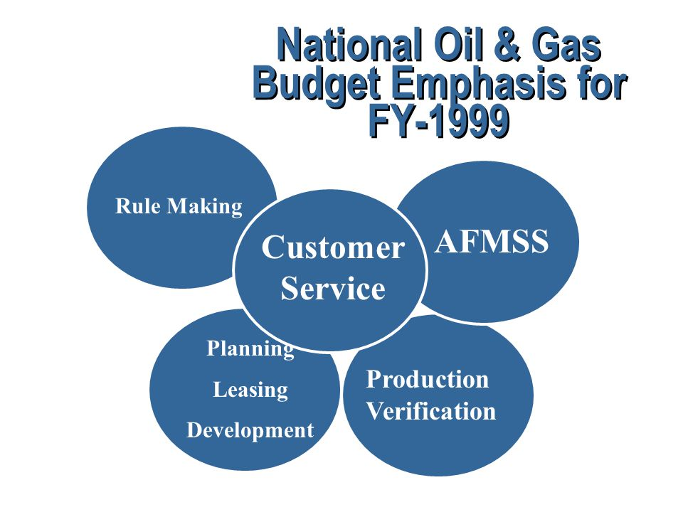 National Oil & Gas Budget Emphasis for FY-1999 Production Verification Planning Leasing Development Rule Making AFMSS Customer Service
