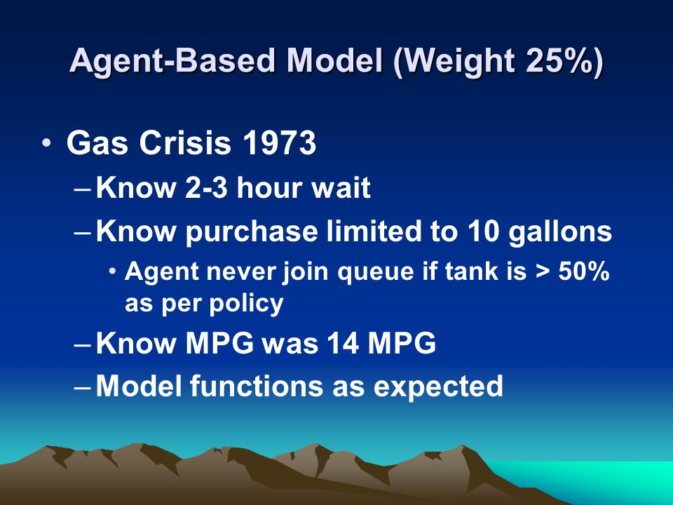 Agent-Based Model (Weight 25%) If gas crisis today – what would happen.