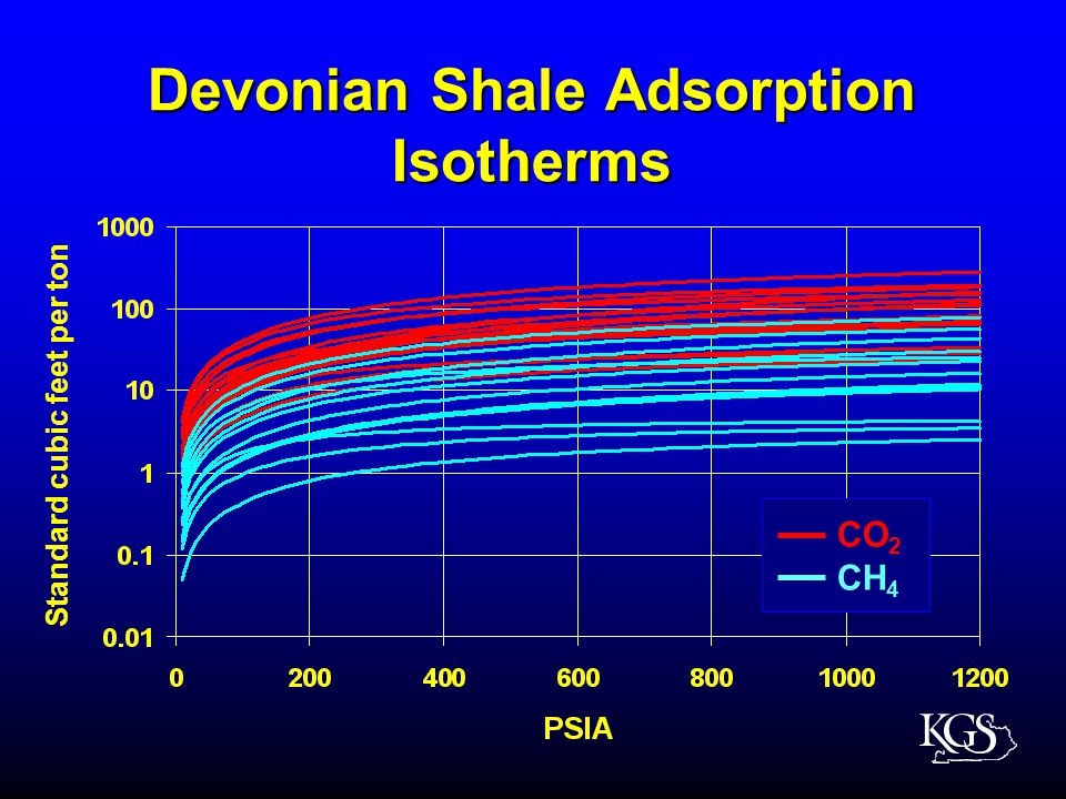 Devonian Shale Adsorption Isotherms Standard cubic feet per ton CO 2 CH 4