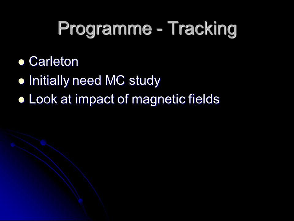 Programme - Tracking Carleton Carleton Initially need MC study Initially need MC study Look at impact of magnetic fields Look at impact of magnetic fields