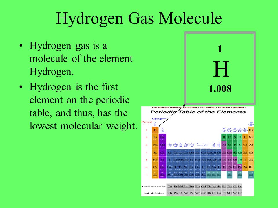 The Hydrogen Gas Molecule Two atoms of Hydrogen combine to form a hydrogen molecule.