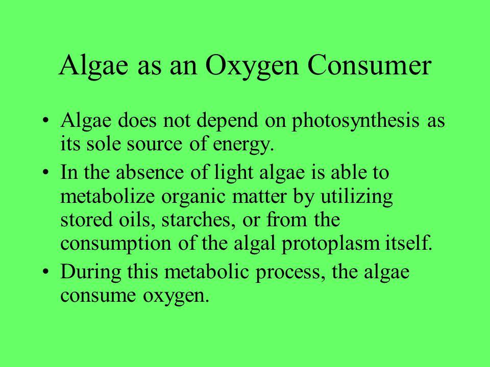 Eutrophication Living algae w/o light access consume oxygen Decaying algae depletes oxygen levels Aerobic bacteria also consume organic waste, depleting oxygen levels.