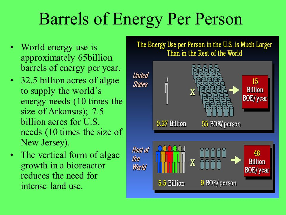Barrels of Energy Per Person World energy use is approximately 65billion barrels of energy per year. 32.5 billion acres of algae to supply the worlds