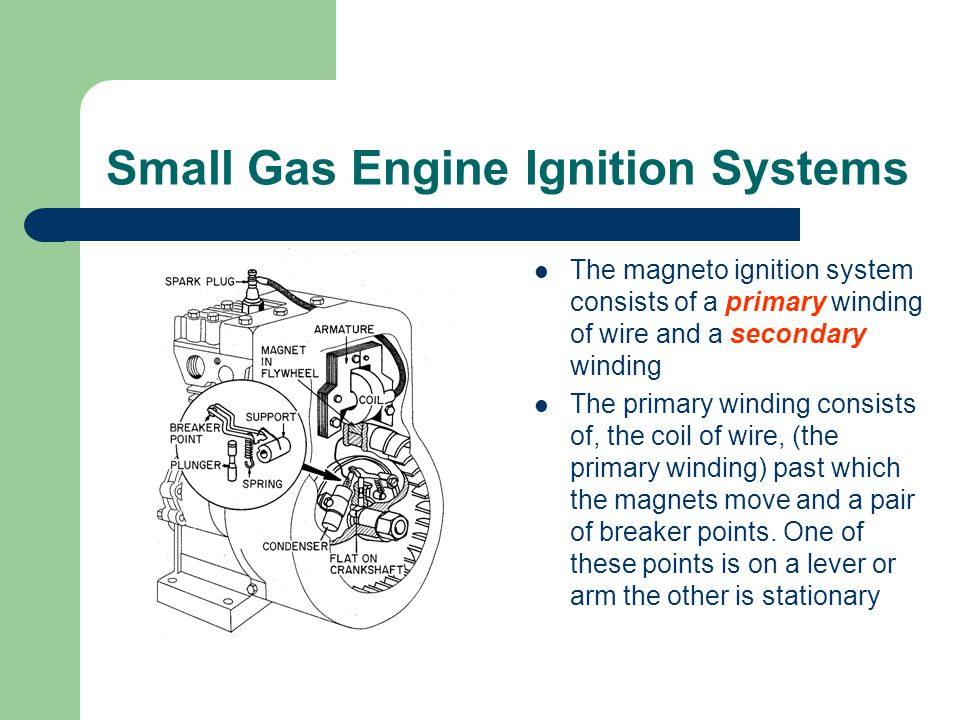 Small Gas Engine Ignition Systems The magneto ignition system consists of a primary winding of wire and a secondary winding The primary winding consists of, the coil of wire, (the primary winding) past which the magnets move and a pair of breaker points.