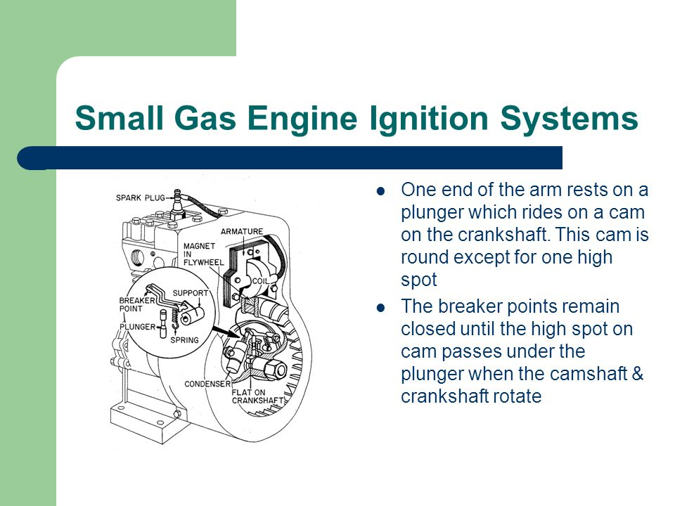 Small Gas Engine Ignition Systems One end of the arm rests on a plunger which rides on a cam on the crankshaft.