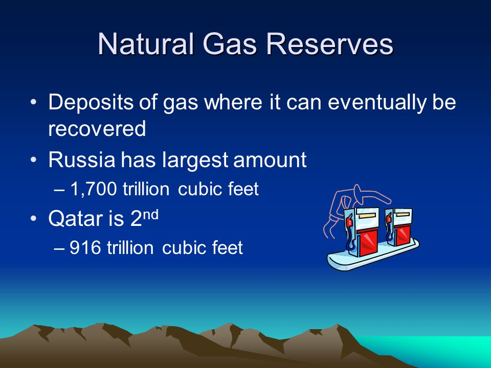 Natural Gas Reserves Deposits of gas where it can eventually be recovered Russia has largest amount –1,700 trillion cubic feet Qatar is 2 nd –916 tril