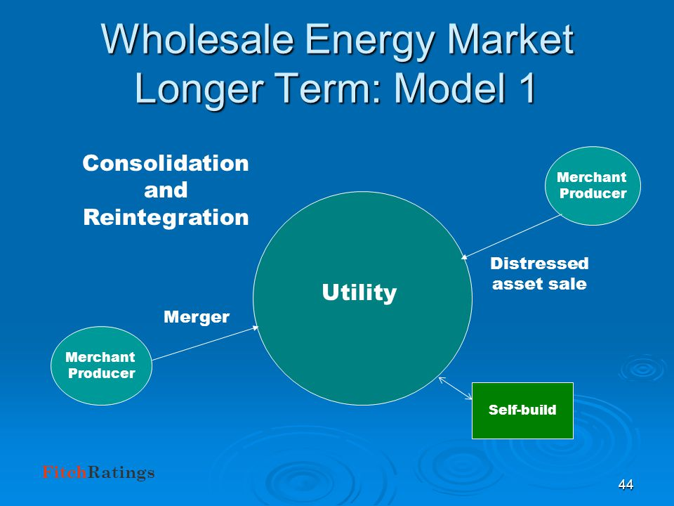 FitchRatings 43 Wholesale Energy Market Longer-term Outlook Wholesale energy market will still exist, but no guarantee that players will be the same.
