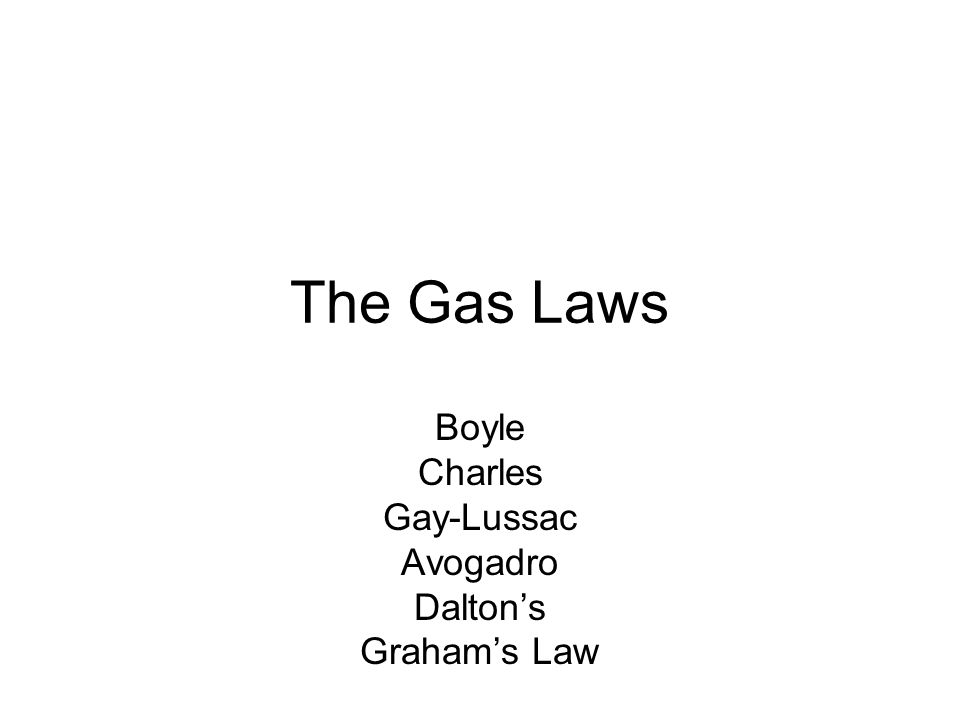 The Gas Laws Boyle Charles Gay-Lussac Avogadro Daltons Grahams Law