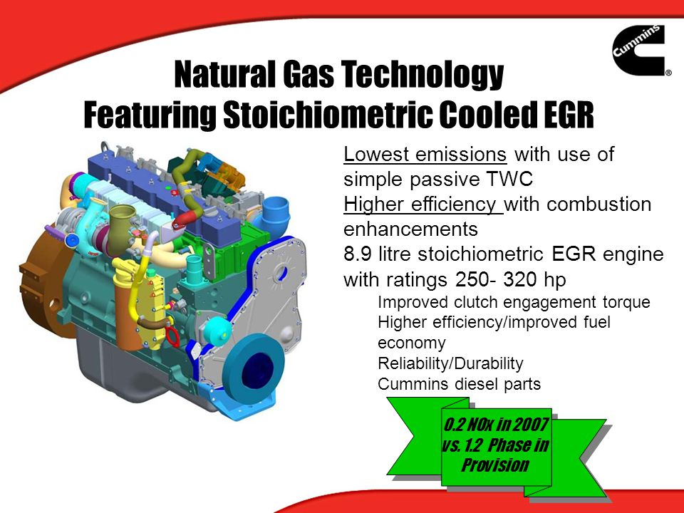 Natural Gas Technology Featuring Stoichiometric Cooled EGR Lowest emissions with use of simple passive TWC Higher efficiency with combustion enhanceme
