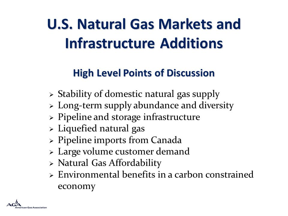 U.S. Natural Gas Markets and Infrastructure Additions High Level Points of Discussion Stability of domestic natural gas supply Long-term supply abunda