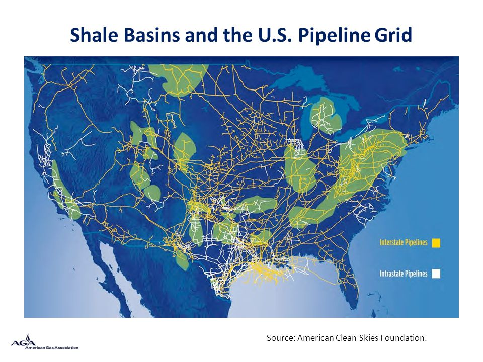 Shale Basins and the U.S. Pipeline Grid Source: American Clean Skies Foundation.