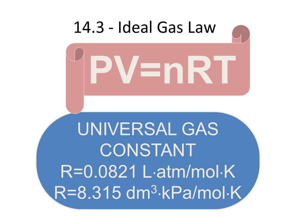 14.3 - Ideal Gas Law UNIVERSAL GAS CONSTANT R=0.0821 L atm/mol K R=8.315 dm 3 kPa/mol K PV=nRT