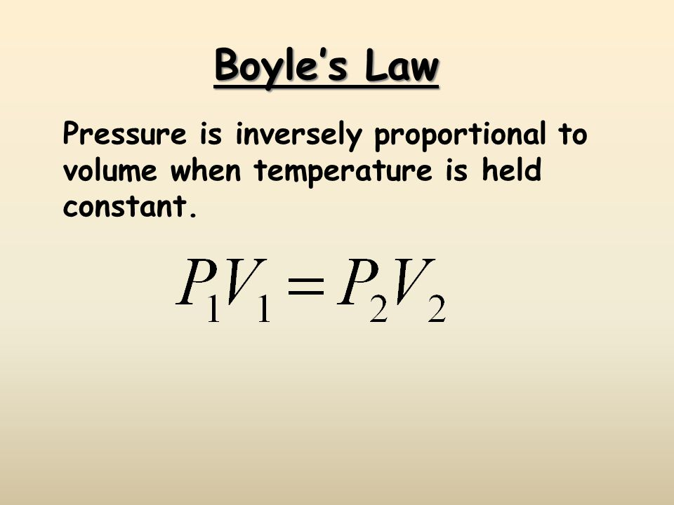 Boyles Law Pressure is inversely proportional to volume when temperature is held constant.