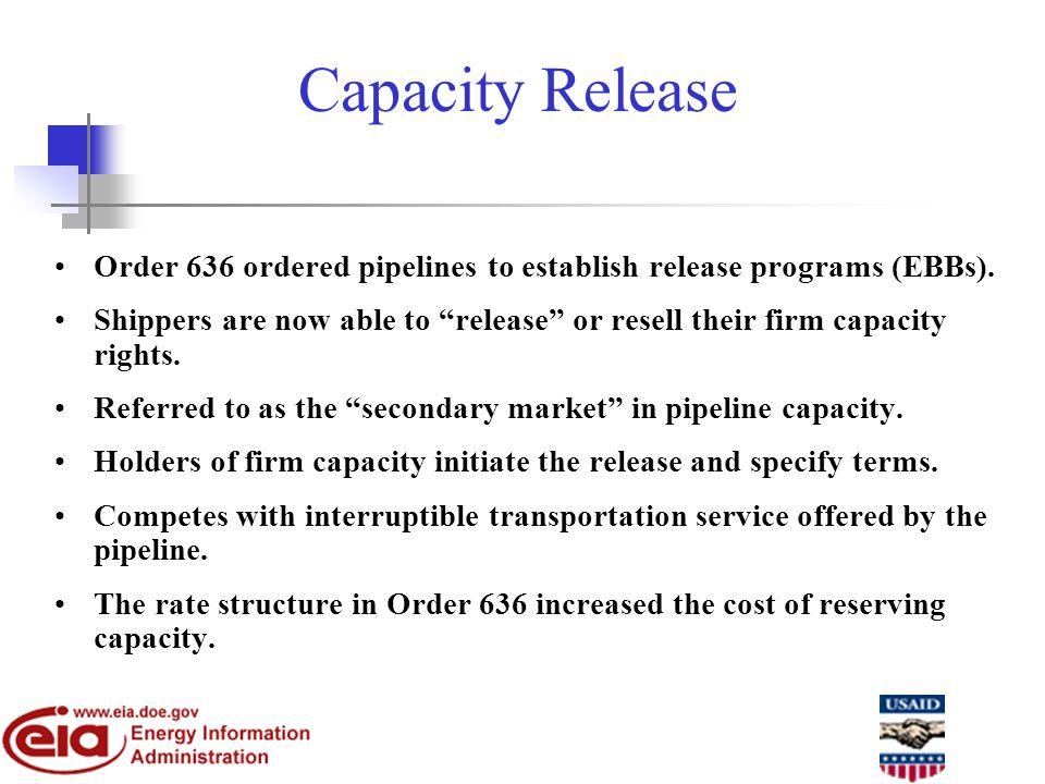 Capacity Release Order 636 ordered pipelines to establish release programs (EBBs).