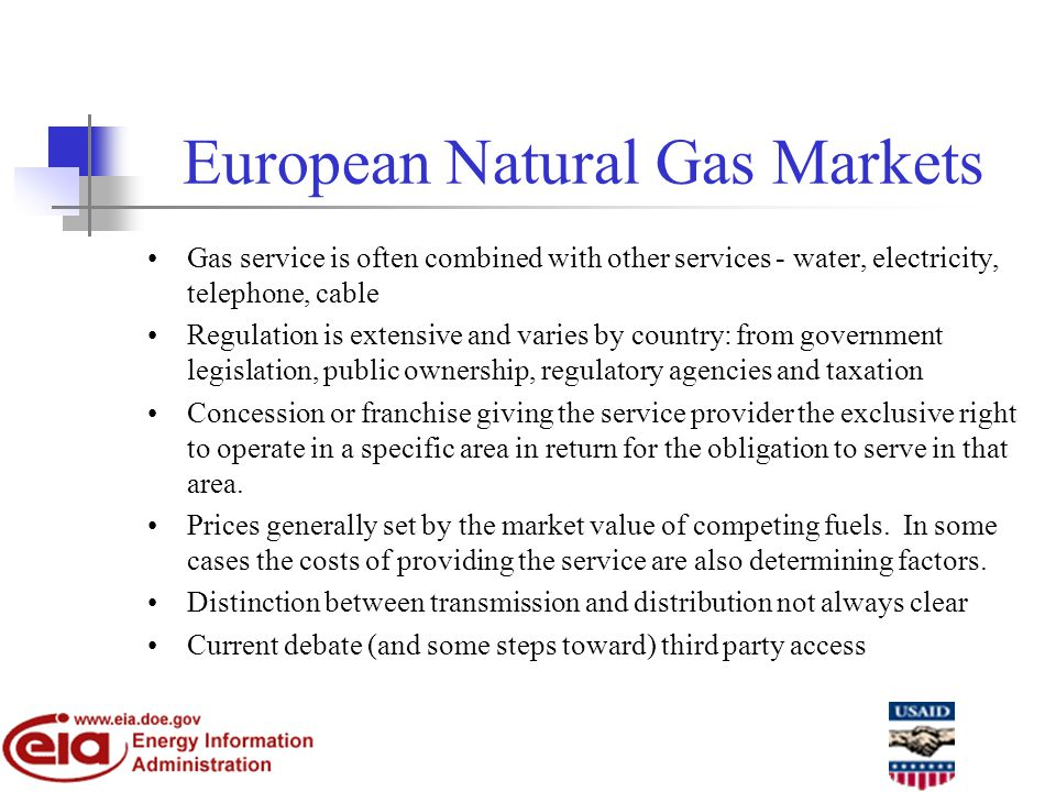 European Natural Gas Markets Gas service is often combined with other services - water, electricity, telephone, cable Regulation is extensive and varies by country: from government legislation, public ownership, regulatory agencies and taxation Concession or franchise giving the service provider the exclusive right to operate in a specific area in return for the obligation to serve in that area.