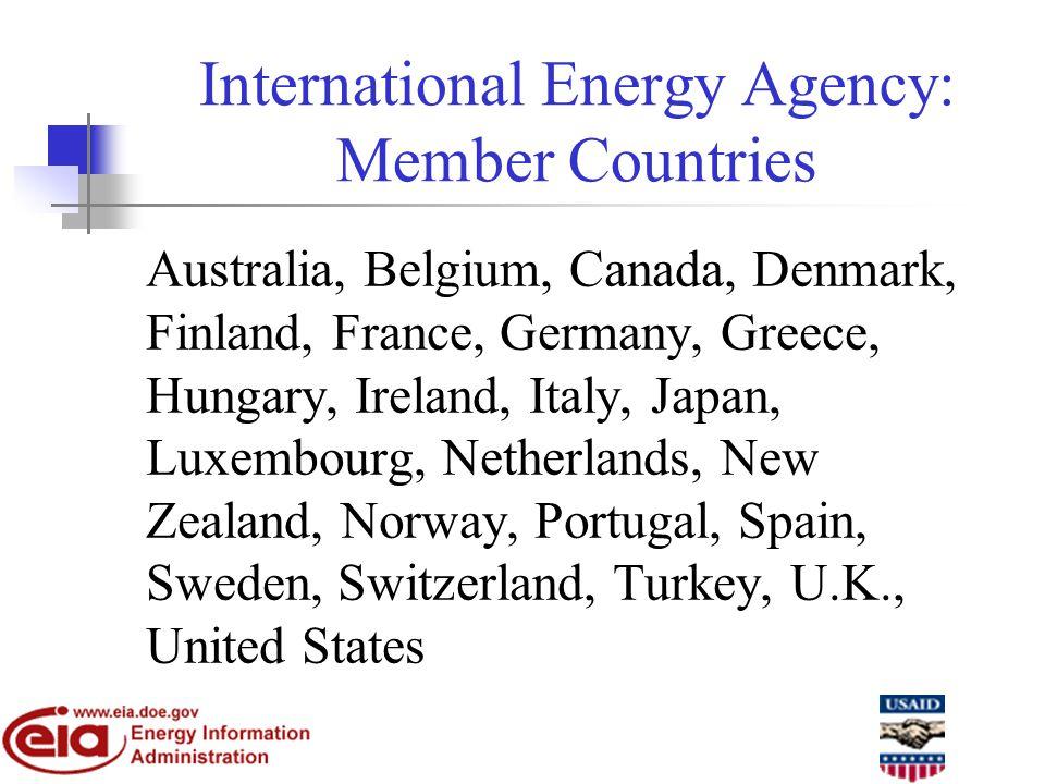 International Energy Agency: Member Countries Australia, Belgium, Canada, Denmark, Finland, France, Germany, Greece, Hungary, Ireland, Italy, Japan, Luxembourg, Netherlands, New Zealand, Norway, Portugal, Spain, Sweden, Switzerland, Turkey, U.K., United States
