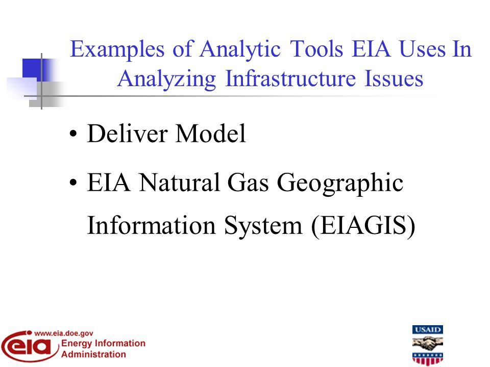 Examples of Analytic Tools EIA Uses In Analyzing Infrastructure Issues Deliver Model EIA Natural Gas Geographic Information System (EIAGIS)