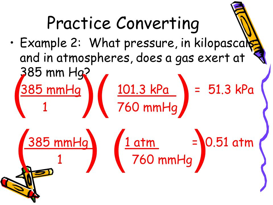 Practice Converting Example 2: What pressure, in kilopascals and in atmospheres, does a gas exert at 385 mm Hg? 385 mmHg 101.3 kPa = 51.3 kPa 1 760 mm