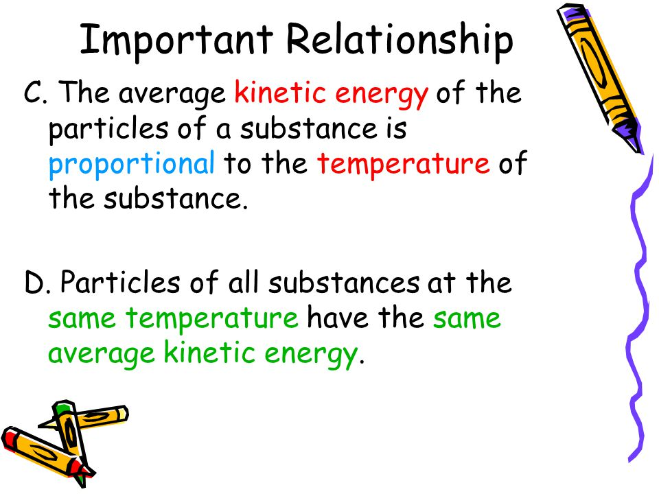 Important Relationship C. The average kinetic energy of the particles of a substance is proportional to the temperature of the substance. D. Particles