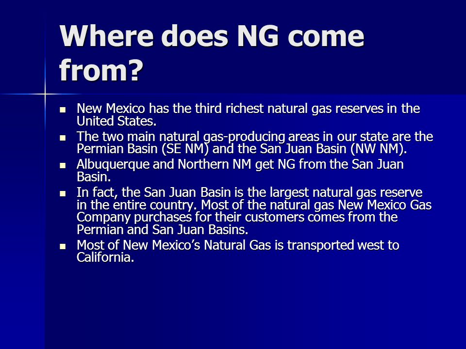 What affects NG Prices.All NG burned in NM is domestic.