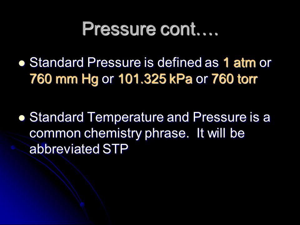 Pressure cont….
