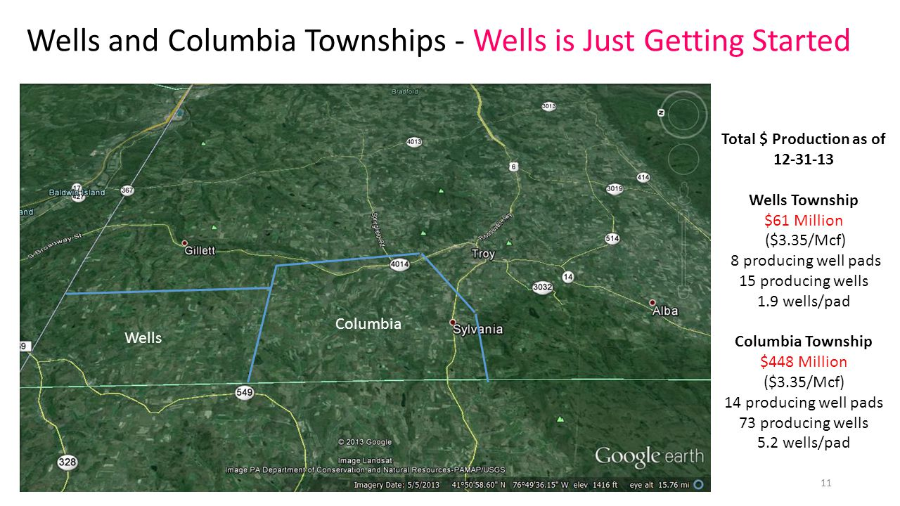 Wells Columbia Wells and Columbia Townships - Wells is Just Getting Started Total $ Production as of Wells Township $61 Million ($3.35/Mcf) 8 producing well pads 15 producing wells 1.9 wells/pad Columbia Township $448 Million ($3.35/Mcf) 14 producing well pads 73 producing wells 5.2 wells/pad 11