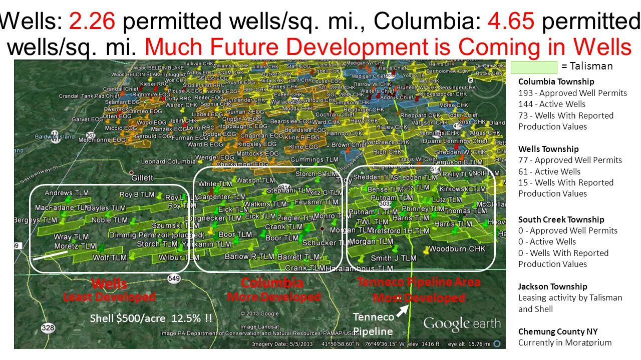 Wells: 2.26 permitted wells/sq. mi., Columbia: 4.65 permitted wells/sq.