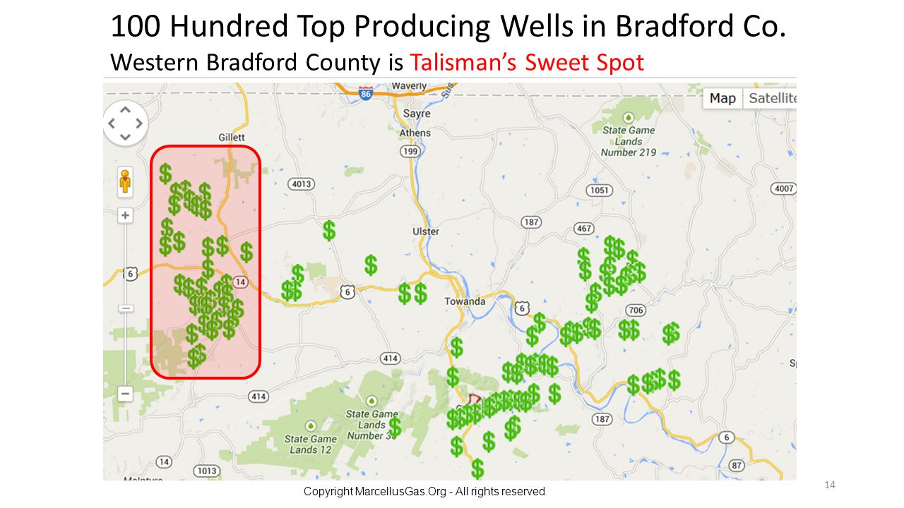 100 Hundred Top Producing Wells in Bradford Co.