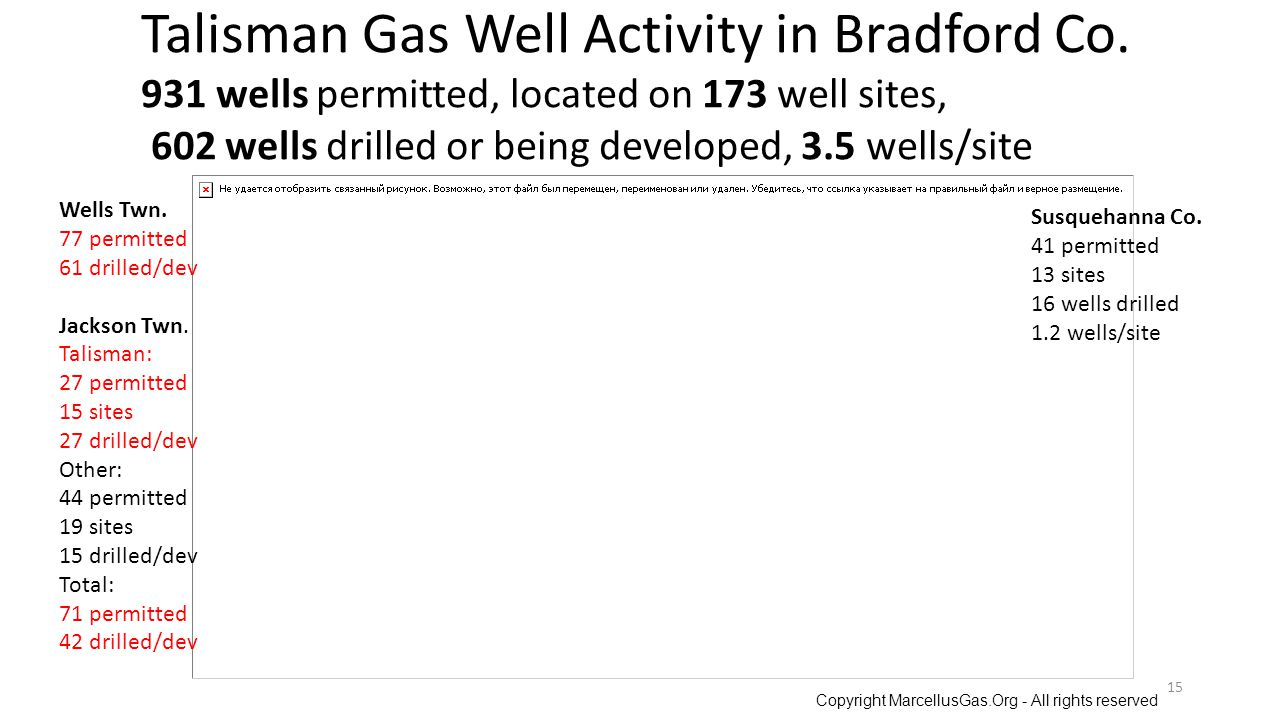Talisman Gas Well Activity in Bradford Co.