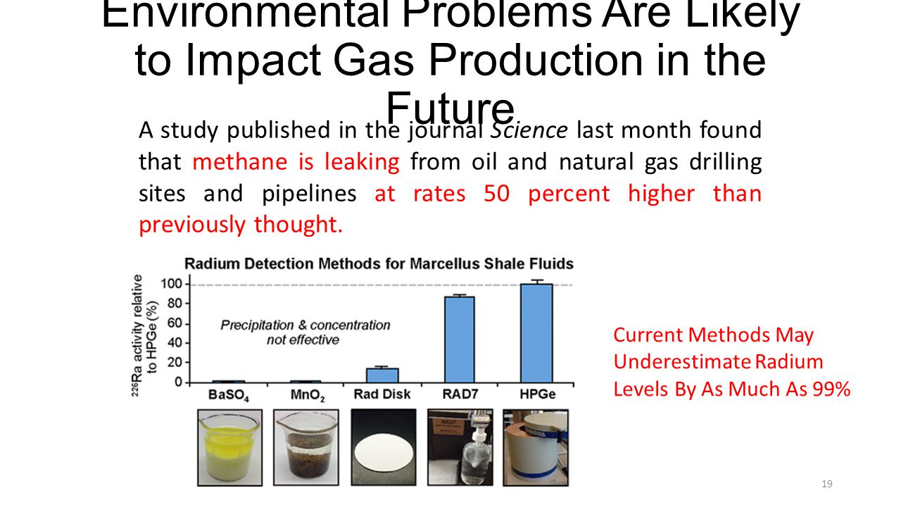 Environmental Problems Are Likely to Impact Gas Production in the Future A study published in the journal Science last month found that methane is leaking from oil and natural gas drilling sites and pipelines at rates 50 percent higher than previously thought.