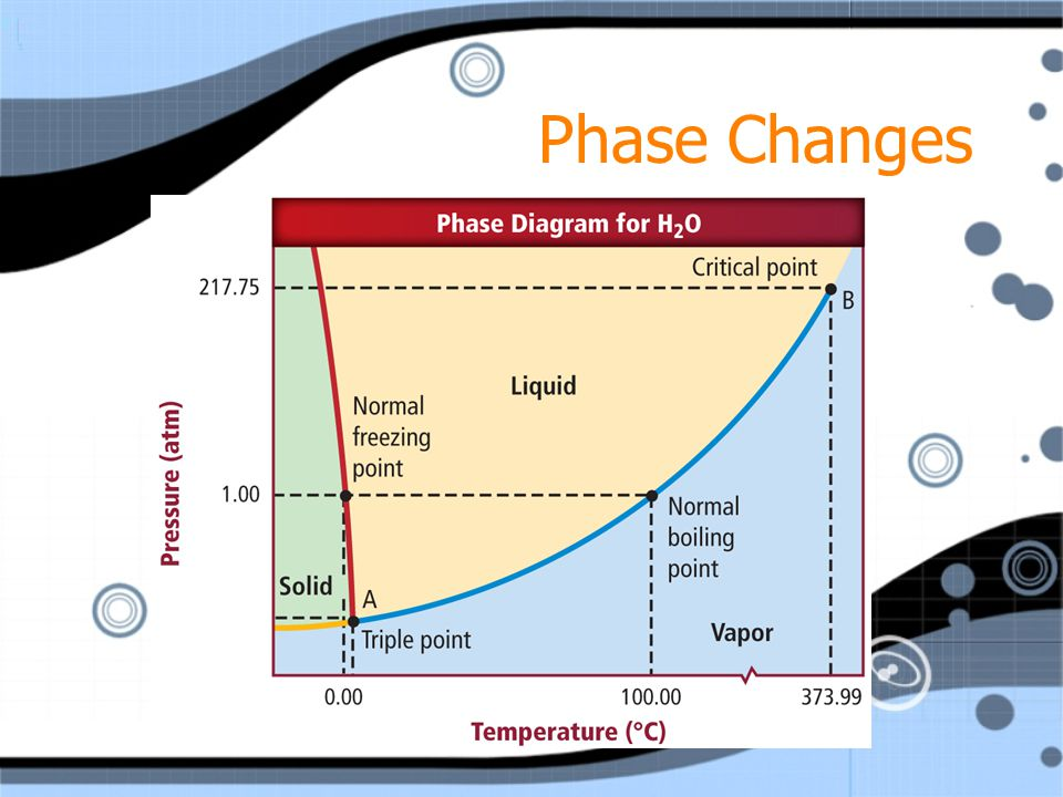 Phase Changes A phase diagram is a graph of pressure versus temperature that shows in which phase a substance will exist under different conditions of