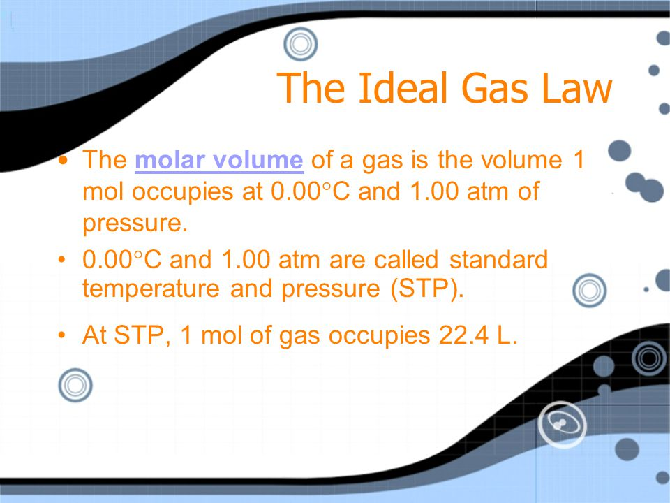 The Ideal Gas Law Avogadros principle states that equal volumes of gases at the same temperature and pressure contain equal numbers of particles. Avog