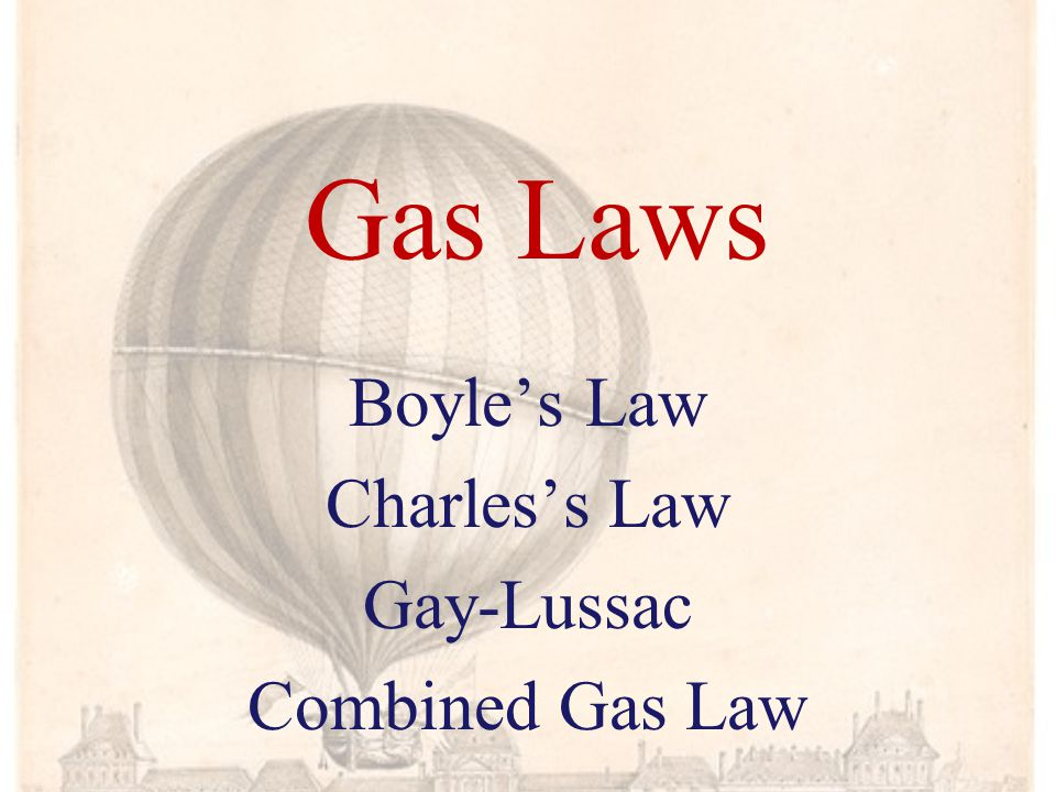 Gas Laws Boyles Law Charless Law Gay-Lussac Combined Gas Law