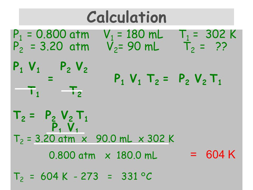 Combined Gas Law Problem A sample of helium gas has a volume of L, a pressure of atm and a temperature of 29°C.