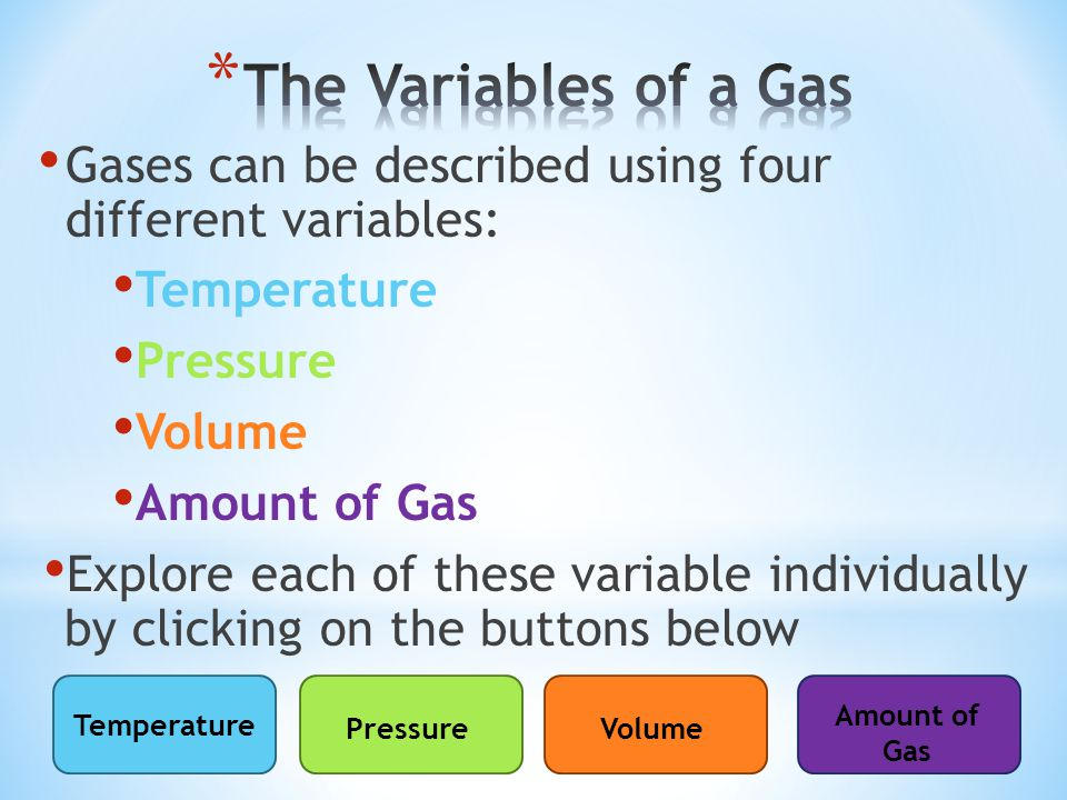 Gases can be described using four different variables: Temperature Pressure Volume Amount of Gas Explore each of these variable individually by clicking on the buttons below Temperature PressureVolume Amount of Gas